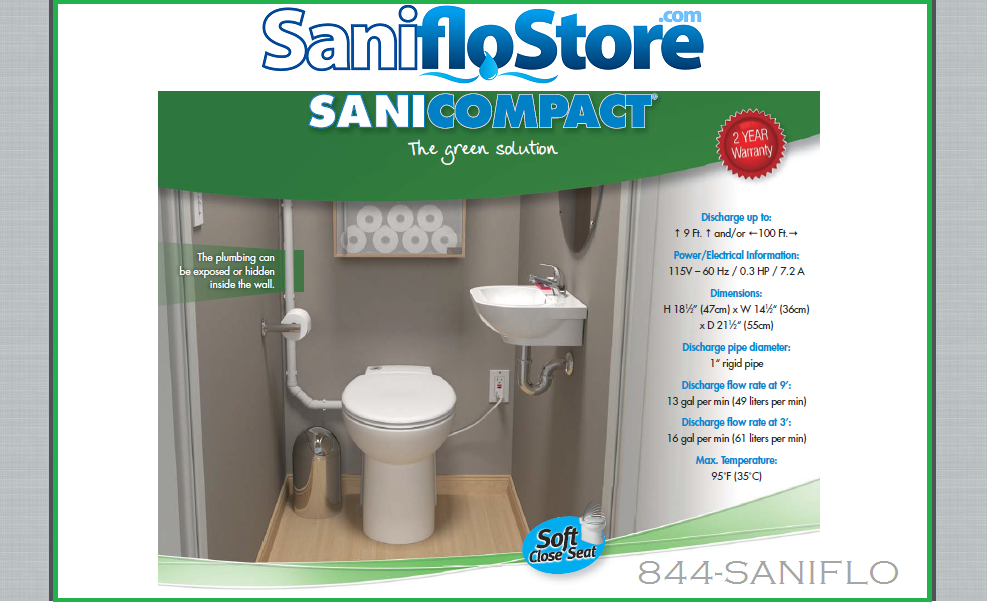 Saniflo Sanicompact 48 All-In-One Macerator and Toilet